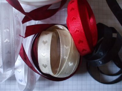 10mm Satin Ribbon Woven With Hearts   Choice of Colour